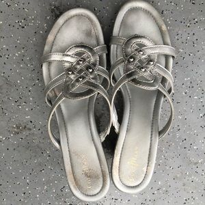 Cole Haan Silver Wedge Sandals